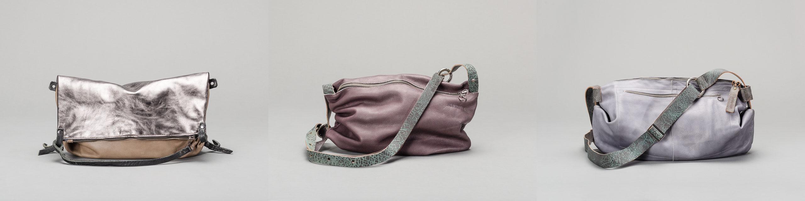 Drei Katalog-/Webshop-Fotos von Handtaschen vor grauem Hintergrund