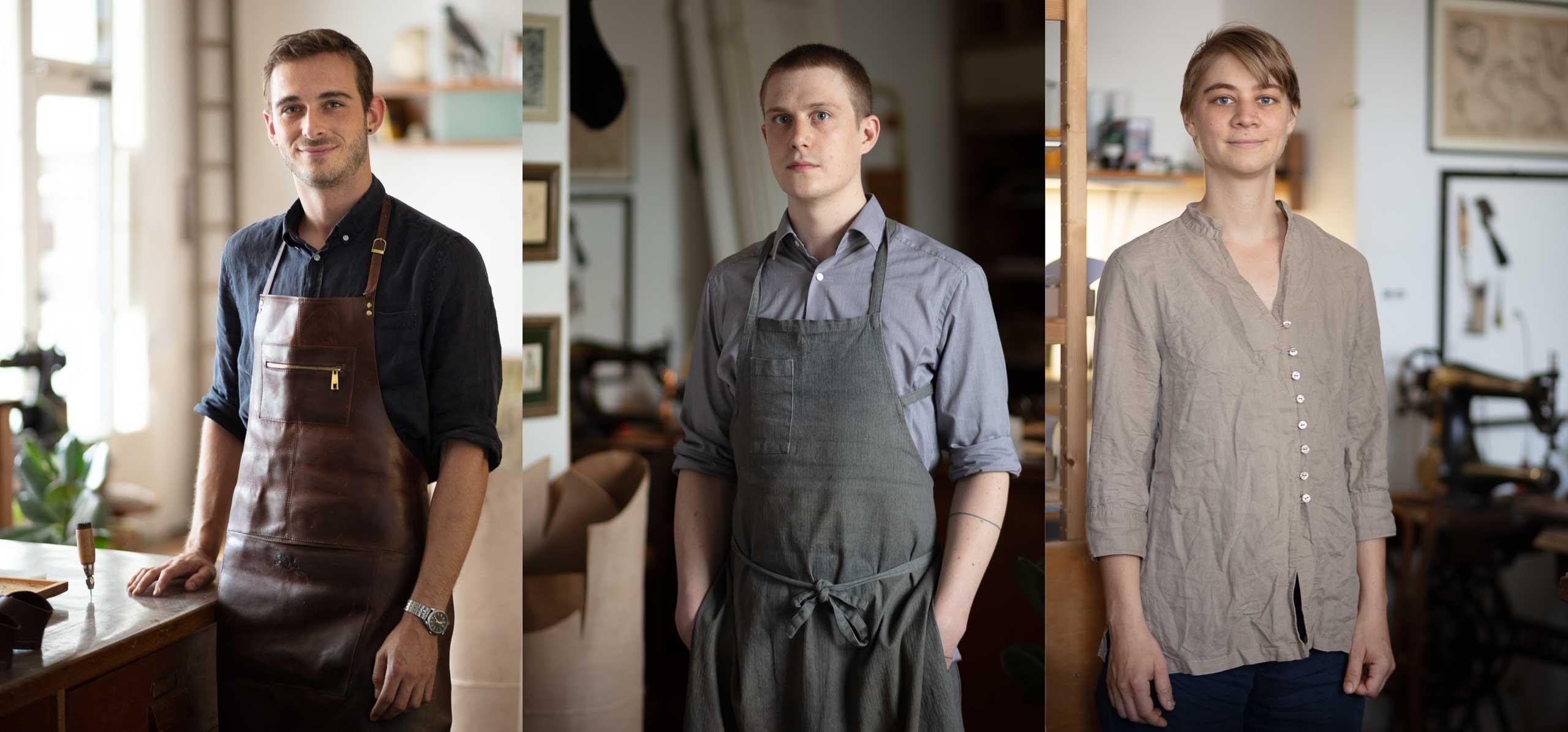 Drei Mitarbeiterportraits in Schuhmacher-Werkstatt